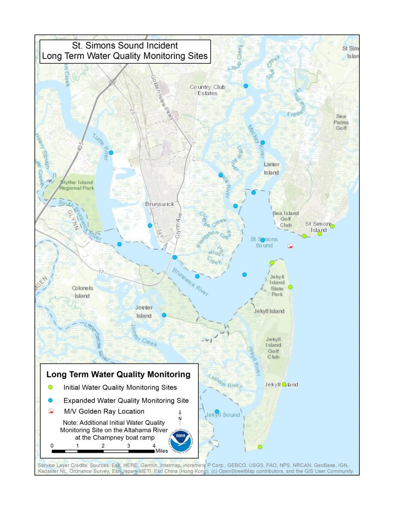 map of water sampling locations